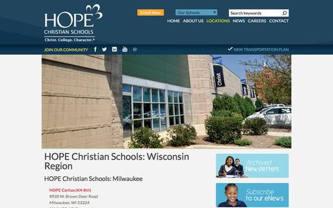 Screenshot of Locations Page hopeschools.org - HOPE Christian Schools: Wisconsin Region | HOPE Christian Schools - captured Sept. 25, 2018