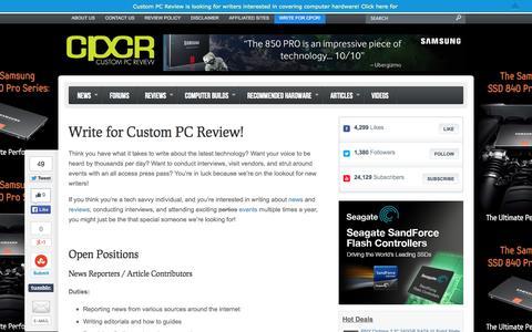 Screenshot of Jobs Page custompcreview.com - Write for Custom PC Review! | Custom PC Review - captured Sept. 24, 2014