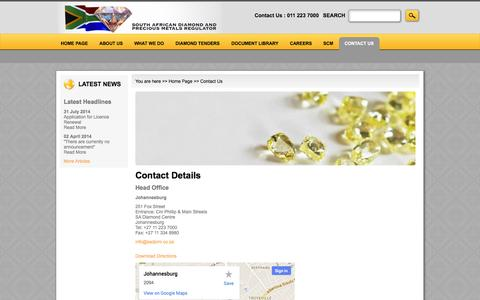 Screenshot of Contact Page sadpmr.co.za - Contact Details - captured Sept. 30, 2014