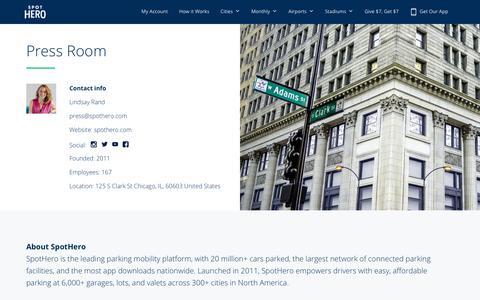 Screenshot of Press Page spothero.com - The SpotHero Newsroom - captured Nov. 3, 2019