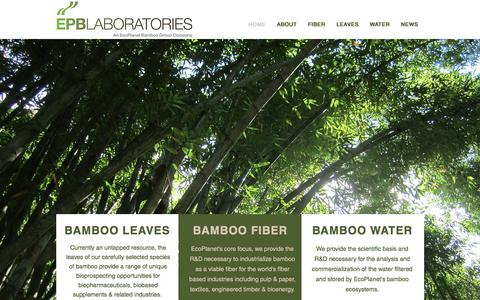 Screenshot of Home Page epblaboratories.com - EcoPlanet Laboratories | An EcoPlanet Bamboo Investment - captured May 12, 2017