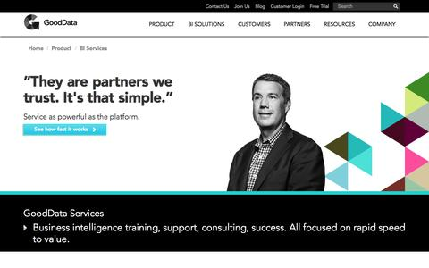 Screenshot of Services Page gooddata.com - Business Intelligence Training Services | GoodData - captured Sept. 16, 2014