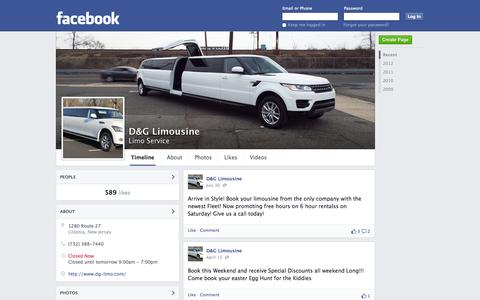 Screenshot of Facebook Page facebook.com - D&G Limousine - Colonia, NJ 07067 - Limo Service | Facebook - captured Oct. 23, 2014