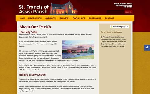 Screenshot of About Page stfrancisbb.org - St Francis of Assisi: About Our Parish - captured Oct. 6, 2014