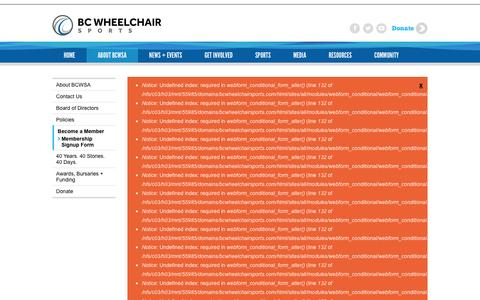 Screenshot of Signup Page bcwheelchairsports.com - Membership Signup Form | BC Wheelchair Sports Association - captured Feb. 7, 2016