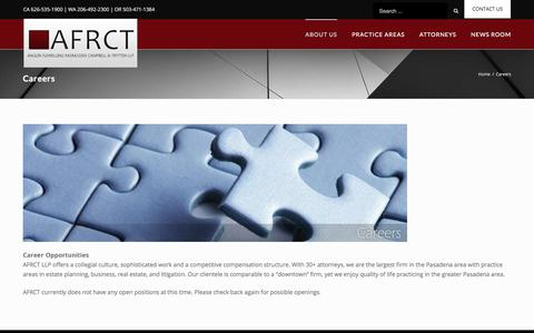 Screenshot of Jobs Page afrct.com - Careers – AFRCT | A Full Service Law Firm - captured Oct. 8, 2017