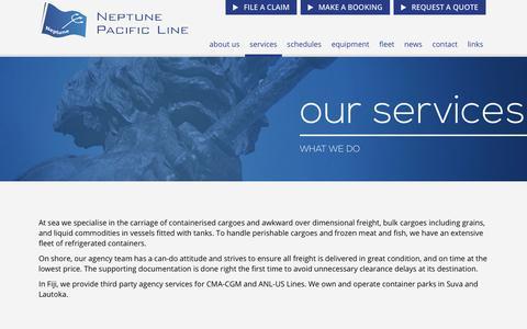 Screenshot of Services Page neptunepacific.com - Services - captured Nov. 3, 2017