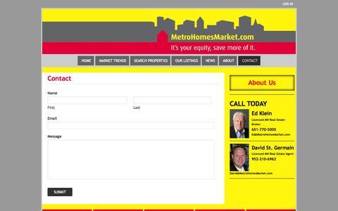 Screenshot of Contact Page metrohomesmarket.com - Contact - captured Nov. 3, 2014