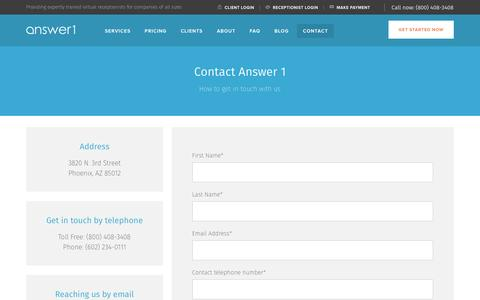 Screenshot of Contact Page answer1.com - Contact Answer 1 | Business Answering Service | Virtual Receptionists - captured Nov. 21, 2016