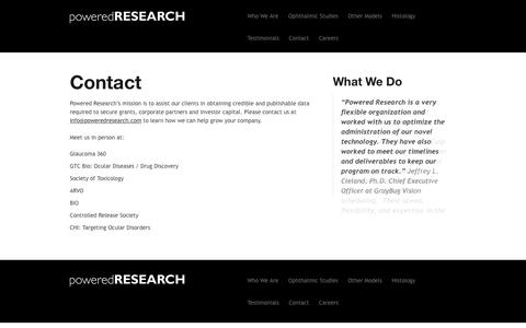 Screenshot of Contact Page poweredresearch.com - Contact | Powered Research - captured Nov. 10, 2016