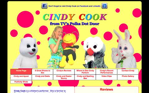 Screenshot of Home Page cindy-cook.com - Cindy Cook from Polka Dot Door, Live children's shows - captured April 4, 2017