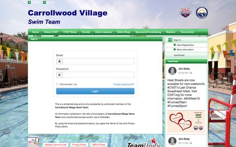 Screenshot of Login Page teamunify.com - Carrollwood Village Swim Team : Sign In - captured Jan. 28, 2018