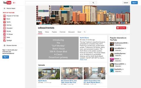Screenshot of YouTube Page youtube.com - odbeachrentals  - YouTube - captured Oct. 26, 2014