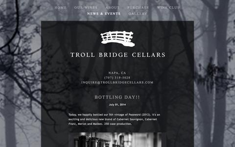 Screenshot of Press Page trollbridgecellars.com - NEWS & EVENTS — Troll Bridge Cellars - captured Oct. 9, 2014