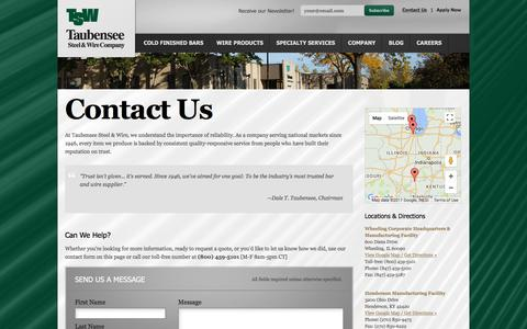 Screenshot of Contact Page taubensee.com - Contact Us | Taubensee Steel & Wire Company - captured Oct. 19, 2017