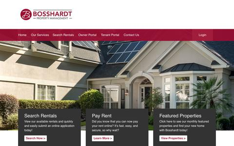 Screenshot of Home Page bosshardtpm.com - Home Page | Bosshardt Property Management - captured Jan. 24, 2015