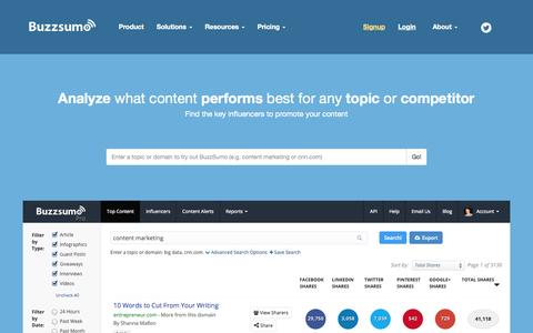 Screenshot of Home Page buzzsumo.com - BuzzSumo: Find the Most Shared Content and Key Influencers - captured Sept. 13, 2014