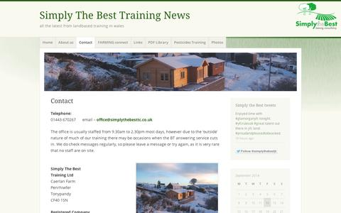 Screenshot of Contact Page wordpress.com - Contact   Simply The Best Training News - captured Sept. 12, 2014