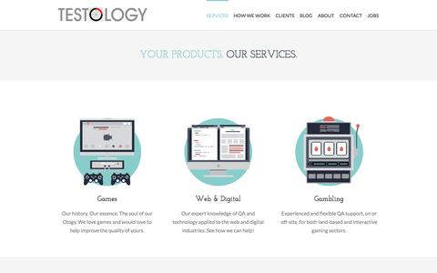 Screenshot of Services Page testology.co.uk - Services - Gaming, Web & Digital and Gambling QA - captured Sept. 25, 2014