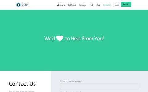 Screenshot of Contact Page igain.com - Contact Us – iGain - captured June 8, 2017