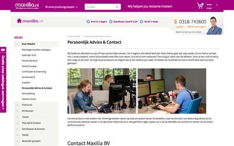 Screenshot of Contact Page maxilia.nl - Contact - Maxilia BV Relatiegeschenken in Rhenen - captured Feb. 12, 2016