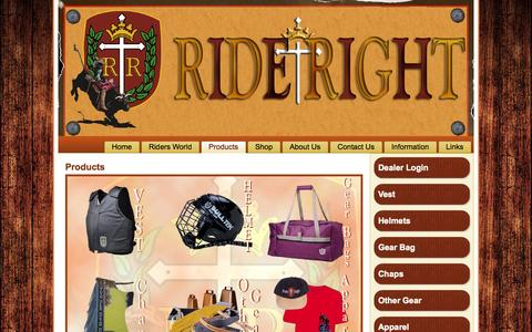 Screenshot of Products Page rideright.com - Products | Ride Right - captured Oct. 6, 2014