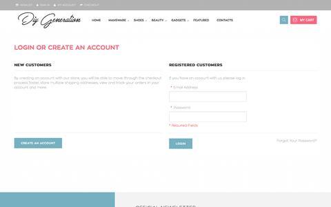 Screenshot of Login Page diygeneration.com - Customer Login - captured Nov. 25, 2016