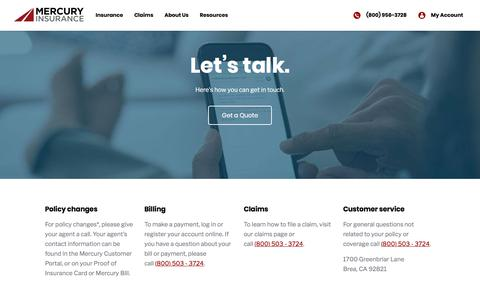 Screenshot of Contact Page mercuryinsurance.com - Low rates and incredible service   Mercury Insurance - captured Nov. 15, 2019