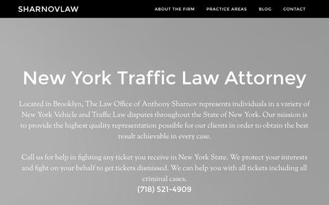 Screenshot of Home Page sharnovlaw.com - New York Traffic Ticket Lawyer | Attorney Anthony Sharnov - captured Sept. 23, 2014