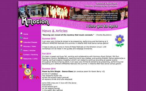 Screenshot of Press Page kmotion.ca - News - Kmotion Dance - captured Feb. 12, 2016