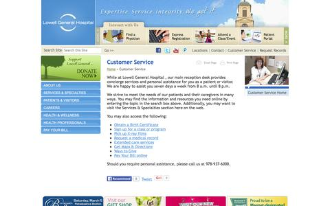 Screenshot of Support Page lowellgeneral.org - Customer Service // Lowell General Hospital - captured Feb. 1, 2016
