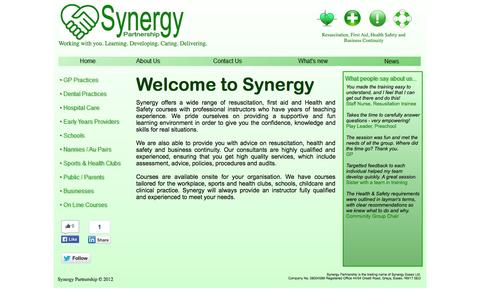 Screenshot of Home Page synergypartnership.co.uk - First Aid | Resuscitation | Health & Safety | Business Continuity | Synergy Partnership in Essex - captured Sept. 30, 2014