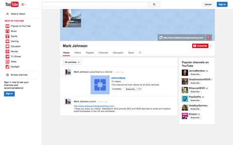 Screenshot of YouTube Page youtube.com - Mark Johnson  - YouTube - captured Oct. 26, 2014