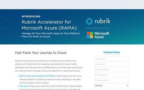 Screenshot of Landing Page rubrik.com - Rubrik | RAMA Contact Sales - captured Jan. 17, 2019
