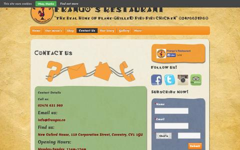 Screenshot of Contact Page frangos.co - Contact Us - Frango's Restaurant Coventry - captured Oct. 6, 2014