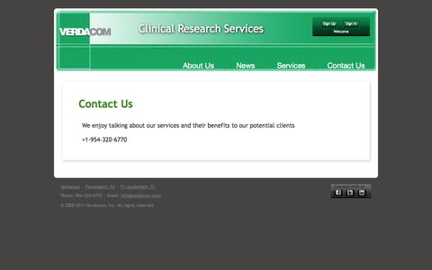 Screenshot of Contact Page verdacom.com - Verdacom | IMRS - captured Oct. 26, 2014