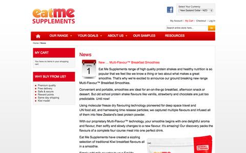 Screenshot of Press Page eatmesupplements.co.nz - News l Eat Me Supplements - captured Sept. 30, 2014