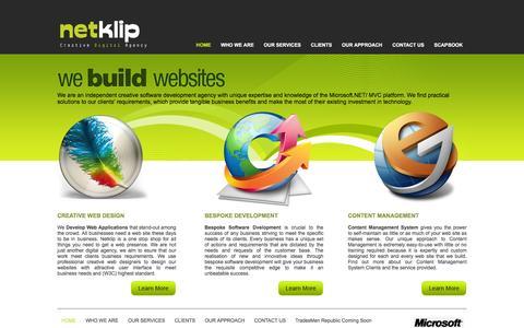 Screenshot of Home Page netklip.com - Web Development - e-commerce - database - captured Feb. 26, 2016