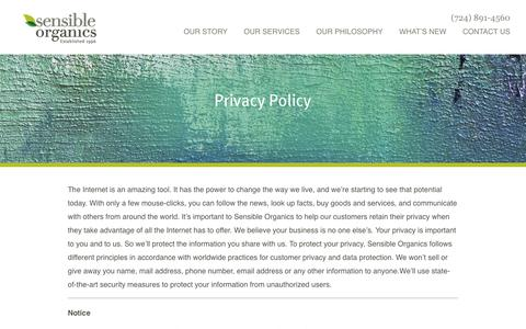 Screenshot of Privacy Page sensibleorganics.us - Privacy Policy - Sensible Organics All-Natural Organic Cosmetics | Sensible Organics - captured Oct. 20, 2018