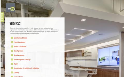 Screenshot of Services Page cbihq.com - Services | Corporate Business Interiors | CBI - captured Sept. 3, 2017