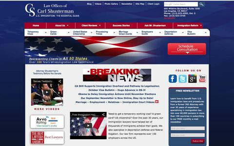 Screenshot of Home Page shusterman.com - Immigration Lawyers, Best Los Angeles Immigration Attorneys - captured Sept. 18, 2014