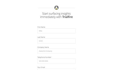 Screenshot of Signup Page trialfire.com - Signup | Customer Intelligence & Analytics | Trialfire - captured Feb. 20, 2016