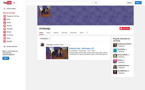 Screenshot of YouTube Page youtube.com - circleyoga  - YouTube - captured Oct. 22, 2014