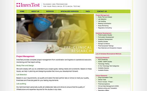 Screenshot of Services Page inrextest.com - InrexTest - Medical Testing, Impeccable Quality, Unbelievable Prices   Guidance         and Preparation for Your Preclinical and Clinical Testing - captured Sept. 30, 2014