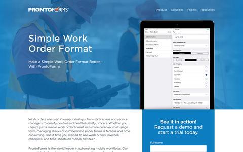 Simple Work Order Format