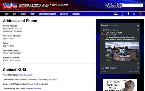 Screenshot of Contact Page kusi.com - Contact Us - KUSI.com - captured Oct. 14, 2018