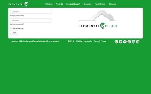 Screenshot of Login Page elementaltechnologies.com - Welcome to Elemental Cloud - captured Sept. 16, 2014