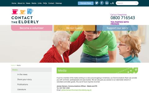 Screenshot of Press Page contact-the-elderly.org.uk - Contact the Elderly - captured July 21, 2018