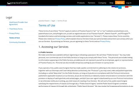 Screenshot of Terms Page practicefusion.com - Practice Fusion | Terms of Use - captured July 21, 2014
