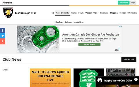 Screenshot of Press Page pitchero.com - News - Marlborough RFC - captured Oct. 22, 2018